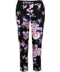 Černé kalhoty s barevnými květy Miss Selfridge