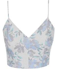 Světle modrý květovaný top na ramínka Miss Selfridge