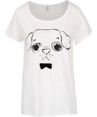 Krémové tričko s mašlí a motivem pejska ONLY Kaya