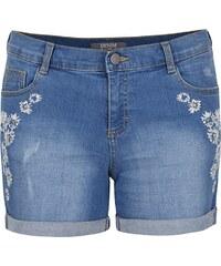 Modré džínové šortky s vyšitými květy Dorothy Perkins