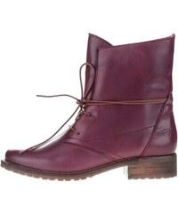 Vínové kožené boty na šněrování Tamaris