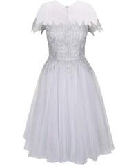 Světle šedé šaty s krajkovými detaily Chi Chi London Abella