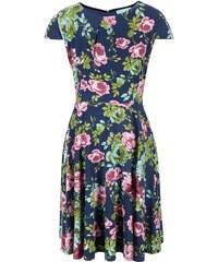 Modré květované šaty Fever London Guinevere Flare