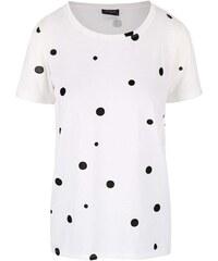 Krémové tričko s černými puntíky VILA Splot