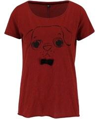 Cihlové tričko s mašlí a motivem pejska ONLY Kaya