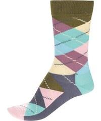 Tmavě modré unisex kárované ponožky Happy Socks Argyle