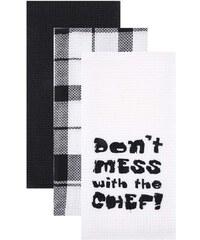 Sada tří černo-bílých utěrek Cooksmart Don´t Mess With The Chef!