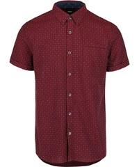 Vínová košile se vzorem a krátkými rukávy Burton Menswear London