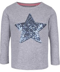 Šedé žíhané holčičí tričko s hvězdou a dlouhým rukávem 5.10.15.