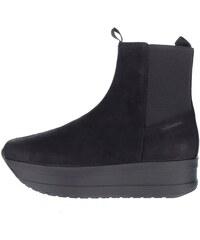 Černé dámské chelsea kotníkové kožené boty na platformě Vagabond Casey