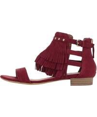 Červené semišové sandály s třásněmi Tamaris