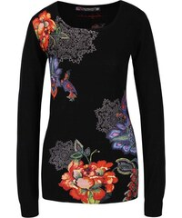 Černý svetr s červeno-modrými květy Desigual Sophia