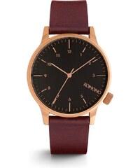 Vínové pánské kožené hodinky s černým ciferníkem Komono Winston Regal