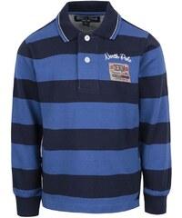 Modré klučičí pruhované polo triko s dlouhým rukávem North Pole Kids