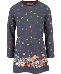 Šedé holčičí šaty s barevnými puntíky Bóboli