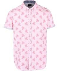Růžová košile s květovaným vzorem a krátkým rukávem Burton Menswear London