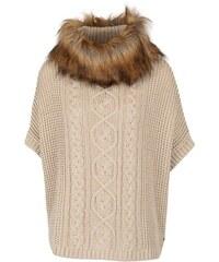 Béžový svetr s rolákem a s umělým kožíškem Lipsy
