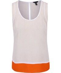 Béžovo-bílý vzorovaný top s oranžovým detailem Nautica