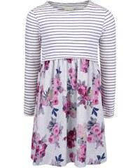 Šedé holčičí šaty s květy a proužky Tom Joule Layla