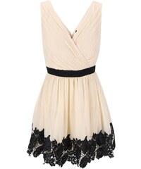 Krémové šaty s černými detaily a krajkovaným lemem Little Mistress