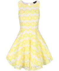 Žluté krajkované šaty s květy AX Paris