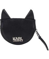 Černá kožená prošívaná peněženka na drobné ve tvaru kočky KARL LAGERFELD