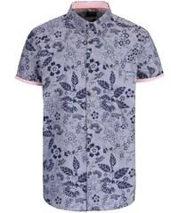 Modrá košile s květinovým potiskem Burton Menswear London