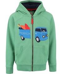 Zelená chlapecká mikina s autem Frugi Zip-Up Hoody