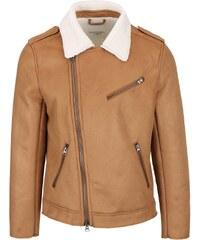 Hnědá bunda v semišové úpravě s asymetrickým zipem Shine Original