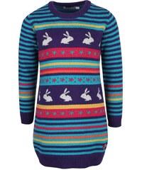 Fialové holčičí pletené šaty s králíčky Bóboli