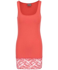 Růžové tílko s krajkovaným lemem Vero Moda Maxi