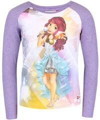 Světle fialové holčičí tričko s potiskem a dlouhým rukávem LEGO wear Tamara