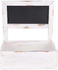 Bílý dřevěný truhlík na květiny s oprýskaným efektem Dakls