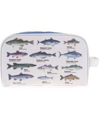 Bílá kosmetická taška s potiskem ryb Gift Republic