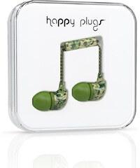 Zelená maskáčová In-Ear sluchátka Happy Plugs