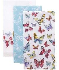 Sada tří bílo-tyrkysových utěrek s motivy motýlů Cooksmart Butterfly