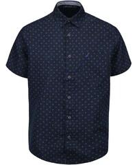 Tmavě modrá pánská vzorovaná lněná košile s krátkým rukávem Nautica