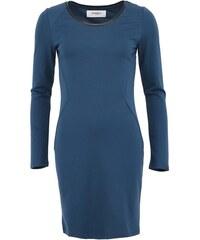 Petrolejové šaty s koženkovým detailem Vero Moda Lea