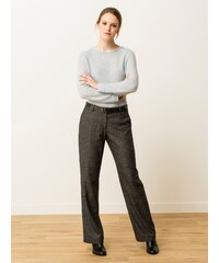 Pantalon Femme Tweed Coupe Large Somewhere, Couleur Anthracite