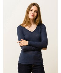 T-shirt Femme Coton/cachemire Encolure V Somewhere, Couleur Indigo