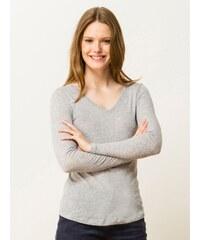 T-shirt Femme Coton/cachemire Encolure V Somewhere, Couleur Gris Clair Chine