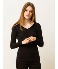 T-shirt Femme Coton/cachemire Encolure V Somewhere, Couleur Noir