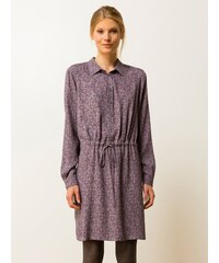 Robe Chemisier Viscose Dobby Manches Longues Somewhere, Couleur Basalte