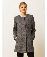 Manteau Femme Tweed Sans Col Somewhere, Couleur Noir / Gris
