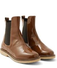 Boots Femme Cuir Verni Somewhere, Couleur Noisette