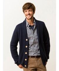 Gilet Homme Coton/laine Col Châle Somewhere, Couleur Marine / Batik