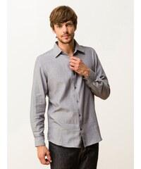 Chemise Homme Coton À Chevrons Coupe Slim Fit Somewhere, Couleur Flanelle/blanc