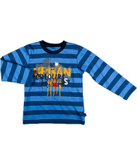 MMDadak Chlapecké pruhované tričko s nápisem - modré
