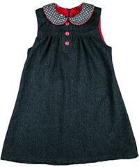 MMDadak Dívčí šaty s puntíkatým límečkem - tmavě šedé