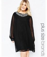 Goddiva Plus - Robe droite à encolure ornée - Noir